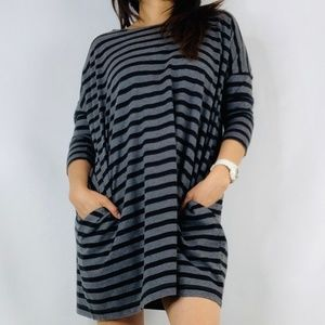 GAP Black and Gray Stripe Shift Dress with pockets